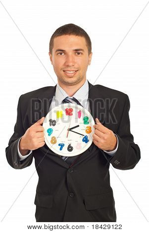 Business Man Showing Clock