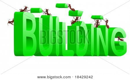 building green word under construction creation realization by ants