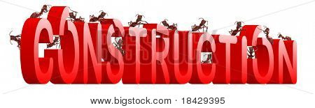 under construction website or webpage building ants constructing word isolated image work in progress or maintenance