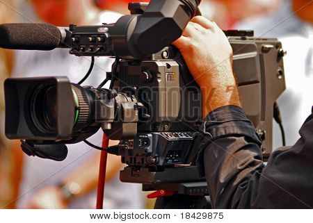TV transmission on line. Professional video camera.