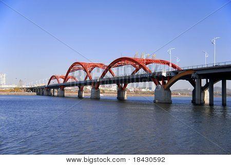 Rainbow Bridge on Songhua River in Jilin. North China