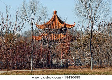Small gazebo in public park in Jilin China