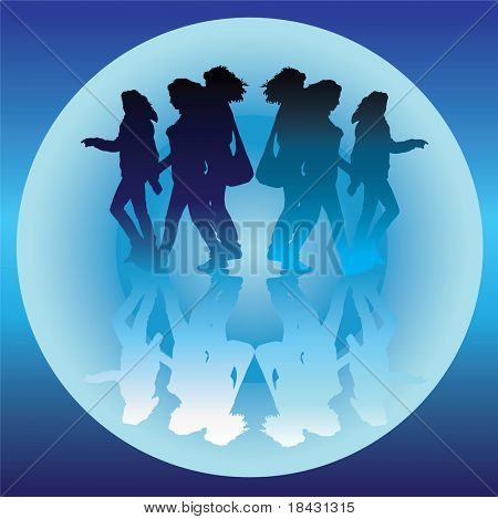 Two same girls group are going in opposite directions.Aquatic colors vector illustration.