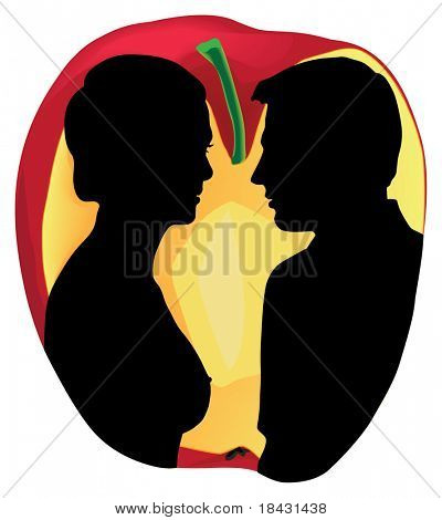Two human silhouettes on apple background. Allegoric color vector illustration.