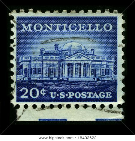USA - CIRCA 1930: A stamp printed in USA shows image of the dedicated to the Monticello circa 1930.