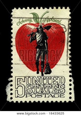 USA - CIRCA 1950: A stamp printed in USA shows image of the dedicated to the Johnny Appleseed circa 1950.