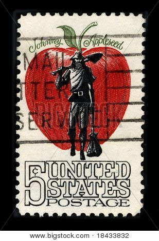 USA - CIRCA 1980: A stamp printed in USA shows image of the dedicated to the Johnny Applesed circa 1980.