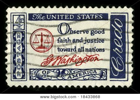USA - CIRCA 1980: A stamp printed in USA shows image of the dedicated to the American Justice circa 1980.