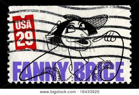 "USA - CIRCA 1991: A stamp printed in USA shows image portrait Fanny Brice  was a popular and influential American illustrated song ""model,"" comedienne, singer, theatre and film actress, circa 1991."