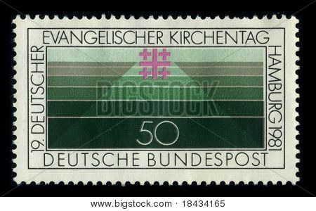 GERMANY-CIRCA 1981: A stamp printed in GERMANY shows image of the dedicated to the The Deutscher Evangelischer Kirchentag is a movement of lay members of the Evangelical Church in Germany, circa 1981.