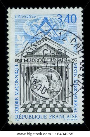 FRANCE-CIRCA 1993:A stamp of the dedicated to The International Order of Co-Freemasonry Le Droit Humain is a global Masonic Order, circa 1993.