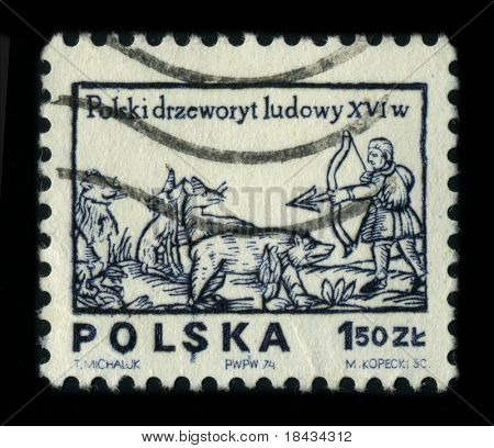 POLAND - CIRCA 1980: A stamp printed in POLAND shows image of the dedicated to the Polish folk woodcut, circa 1980.