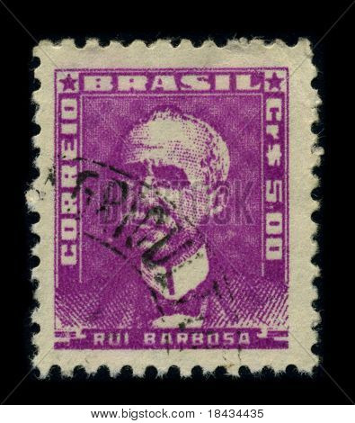 BRAZIL - CIRCA 1940: A stamp shows image portrait Ruy Barbosa de Oliveira (November 5, 1849 - March 1, 1923) was a Brazilian writer, jurist, and politician circa 1940.