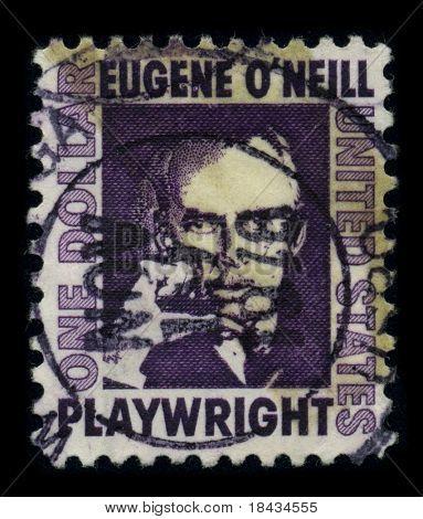 EUA-por volta de 1978: um selo imprimido nos EUA mostra retrato Eugene Gladstone o ' Neill (16 de outubro de 1888 - 27