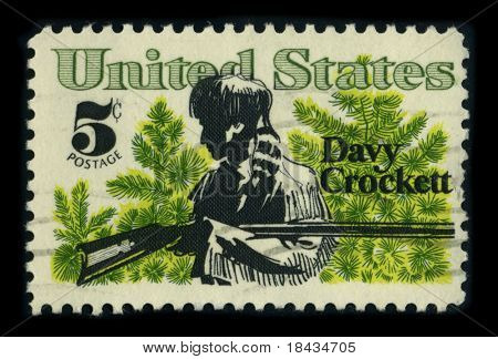 USA - CIRCA 1980: A stamp dedicated to the David Crockett (August 17, 1786 - March 6, 1836) was a celebrated 19th-century American folk hero, frontiersman, soldier and politician, circa 1980.