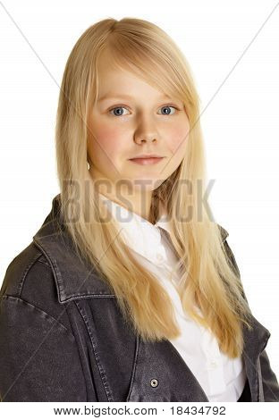 Portrait Of Girl With Blond Hair And Pale Skin