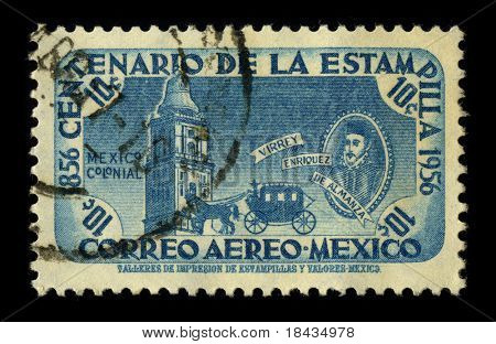 MEXICO - CIRCA 1956: A stamp dedicated to the Don Martin Enriquez de Almanza was the fourth viceroy of New Spain, who ruled from November 5, 1568 until October 3, 1580, circa 1956.
