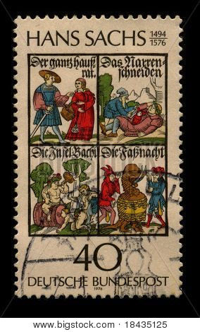 GERMANY-CIRCA 1976:A stamp printed in GERMANY shows image of the Hans Sachs (5 November 1494 - 19 January 1576) was a German meistersinger (