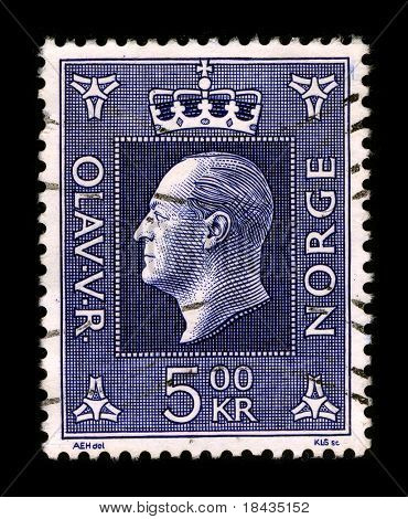NORWAY - CIRCA 1957: A stamp printed in NORWAY shows image portrait to the Olav V (2 July 1903 - 17 January 1991) was the king of Norway from 1957 until his death, circa 1957.