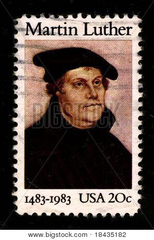 USA - CIRCA 1983: A stamp printed in USA shows image portrait Martin Luther  was a German priest and professor of theology who initiated the Protestant Reformation, circa 1983.