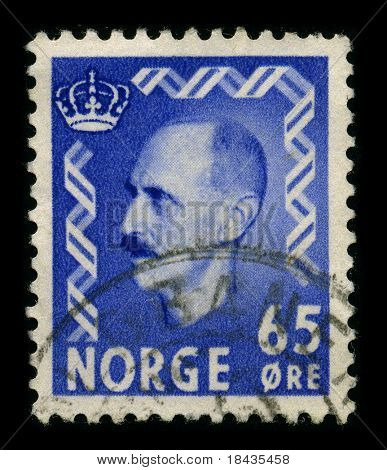 NORWAY-CIRCA 1940:A stamp printed in NORWAY shows image of Haakon VII (Prince Carl of Denmark and Iceland, born Christian Frederik Carl Georg Valdemar Axel),known as Prince Carl of Denmark,circa 1940.
