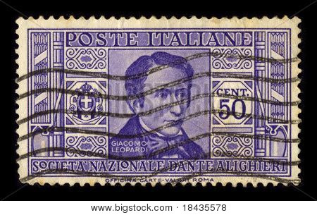 ITALY-CIRCA 1940:A stamp printed in ITALY shows image of Giacomo Taldegardo Francesco di Sales Saverio Pietro Leopardi was an Italian poet, essayist, philosopher, and philologist, circa 1940.
