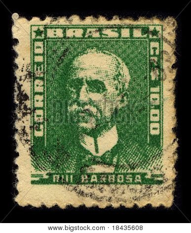 BRAZIL-CIRCA 1956:A stamp printed in BRAZIL shows image of Ruy Barbosa de Oliveira (November 5, 1849 - March 1, 1923) was a Brazilian writer, jurist, and politician, circa 1956.