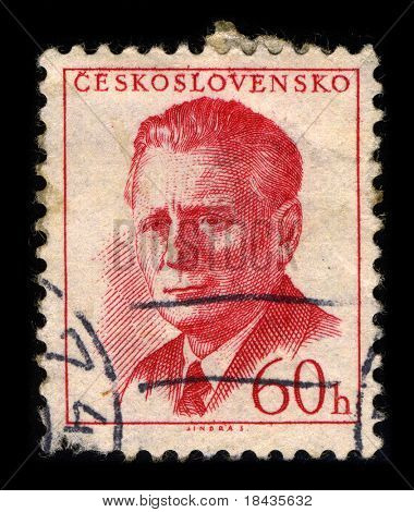 CZECHOSLOVAKIA-CIRCA1958:A stamp printed in CZECHOSLOVAKIA shows image of Antonin Novotny was General Secretary of the Communist Party,and also held the post of President of Czechoslovakia,circa 1958.