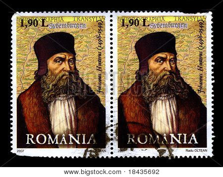 ROMANIA - CIRCA 2007:Two stamp printed in ROMANIA shows image of Johannes Honter was a Siebenbuerger Saxon (Saxon) humanist and theologian, circa 2007.