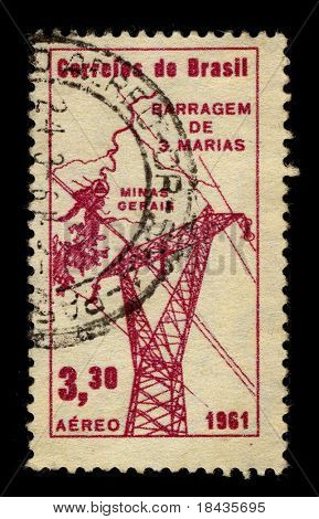 BRAZIL - CIRCA 1961:A stamp printed in BRAZIL shows image of the Electrification Brazil, circa 1961.