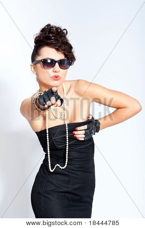 Fashion Woman In Sexy Dress And Sunglasses
