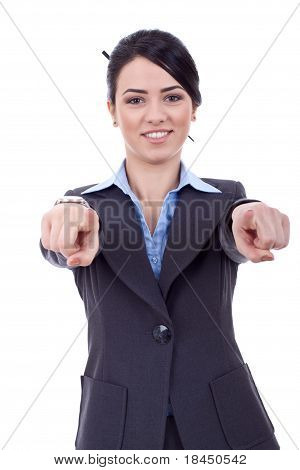 Business Woman Pointing To You