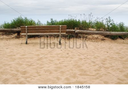 Bench On Beach Sand