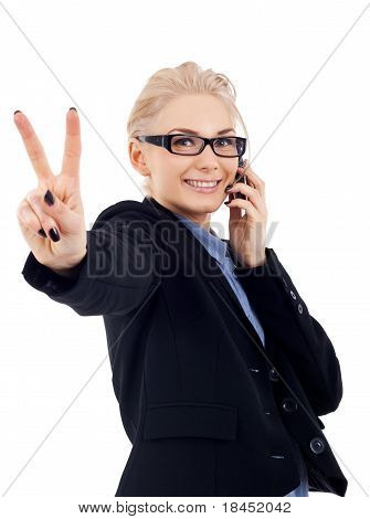 Business Woman  Making Victory Sign