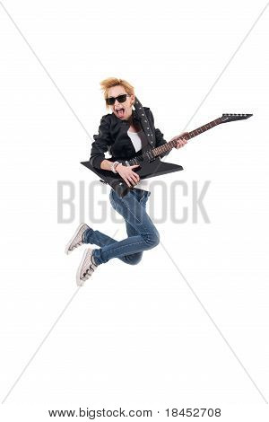 Girl With Electric Guitar Making Rock Sign