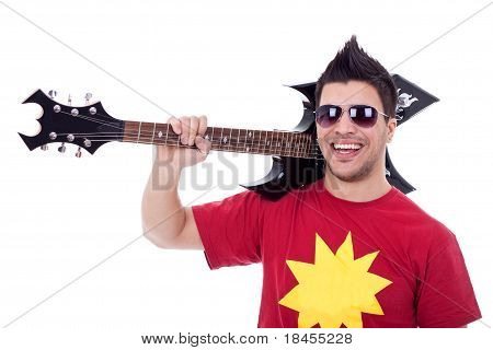 Guitarist With His Guitar On Shoulder