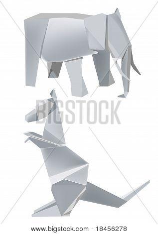 Origami elephant kangaroo