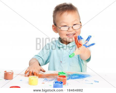 Chinese Boy Painting With Hands