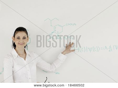 Female Scientist Woman Looking At The Camera