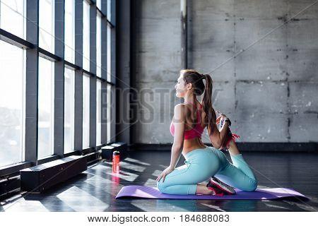 Yoga Mat Woman Stretching Hip