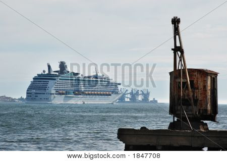 Cruise Ship Sailng Away From Lisbon