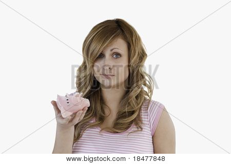 Blond-haired Woman Sad With Her Broken Piggybank