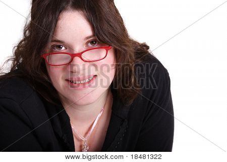 brunette sectary and red glasses