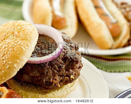 hamburger and hot dogs