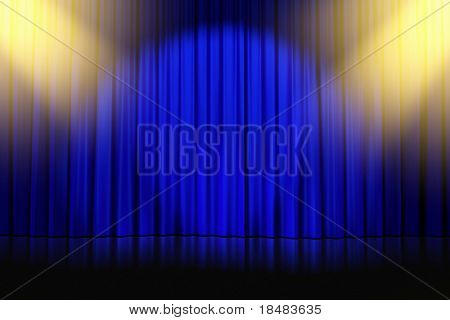 yellow spotlights shining down on an empty stage with closed blue curtains