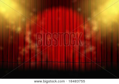 Illustration of yellow spotlights sparkling on an empty stage with closed red curtains