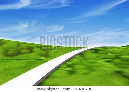 Single white path leading forward across a grassy green landscape