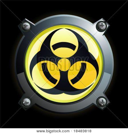 Illustration of a shiny yellow bio-hazard button icon