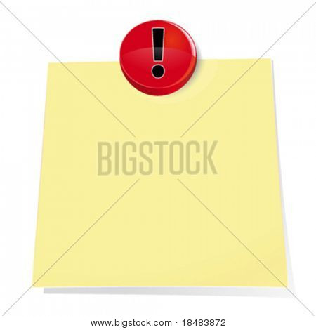 Illustration of a red exclamation push pin tacking a blank sticky note