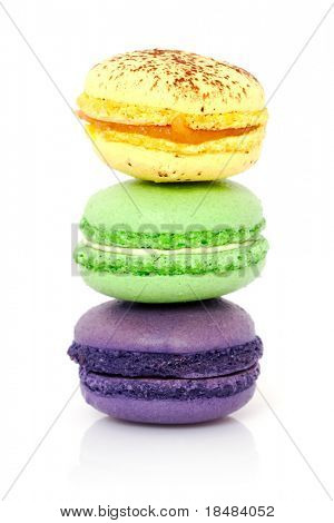 Piled of french macaroons